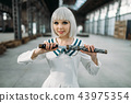 Pretty anime style blonde lady with sword 43975354