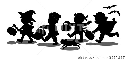 Silhouette of Children go Trick or Treating. 43975847