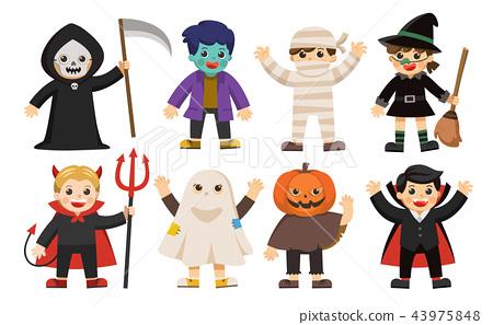 Happy children in Halloween fancy costumes. 43975848