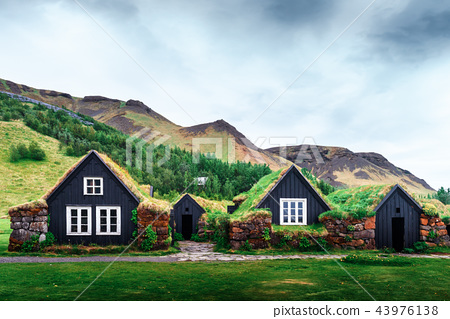 Traditional houses with grass on roof 43976138
