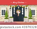 Christmas decoration of entrance doors 43976328