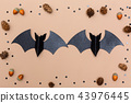 Halloween bats on brown paper 43976445