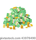 Big pile of cash money banknotes and gold coins, cents. 43976490