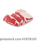 Raw fresh meat marble beef steak vector isolated on white. Fresh meat icon 43978105