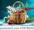 Christmas greeting card with basket and decoration 43978698