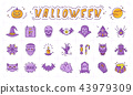 Halloween icon set. Pumpkin, ghost, scary wood. Vampire, frankenstein, witch, bat and other 43979309