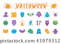 Halloween icon set, Pumpkin, vampire, witch, bat and other Halloween badges. Isolated multicolored 43979312