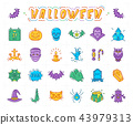 Halloween icon set, Isolated colorful Halloween symbols. Vector illustration 43979313