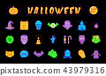 Halloween icon set. Isolated colorful Halloween symbols on a black background, Vector 43979316