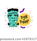 Halloween greeting card, Trick or Treat inscription. Hand drawn Doodle icons - Zombie, frankenstein 43979317