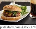 Homemade hamburger closeup 43979379