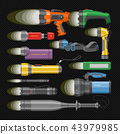 Flashlight vector flash-light lighting with spotlight or flashing light lamp illustration set of 43979985
