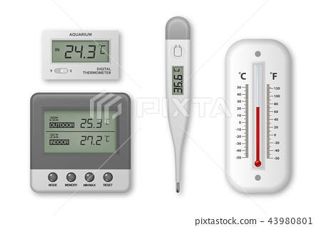 Vector realistic 3d celsius and fahrenheit meteorology, weather, electronic medical and aquarium 43980801