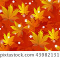 Autumn leaves, seamless pattern, vector background 43982131
