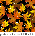 Autumn leaves, seamless pattern, vector background 43982132