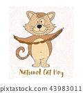 Cute vector illustration of a doodle cat. 43983011