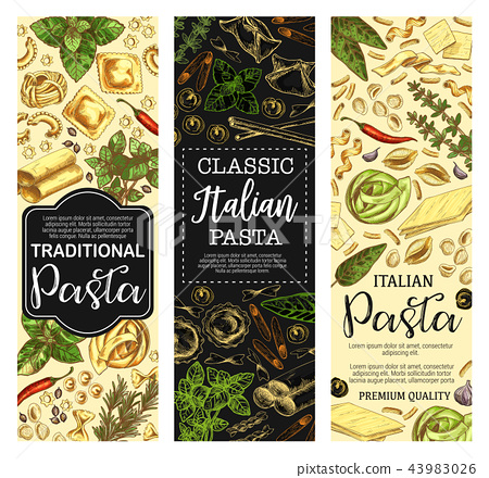 Italian cuisine pasta and macaroni sketch banners 43983026