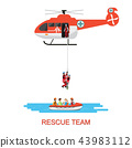 Rescue team with rescue helicopter and boat rescue 43983112