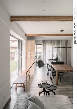 Stylish interior in modern style with wooden beams 43983592