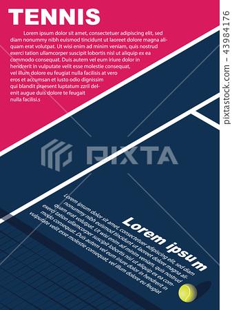 Tennis tournament poster design. Vector template 43984176