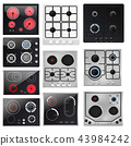 Stove vector cooking gas hob and cooker oven home appliance in kitchen illustration household set of 43984242