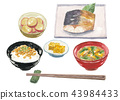 Natto rice Sabayaki grilled breakfast set 43984433
