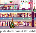 Christmas mall shops escalator vector illustration 43985668