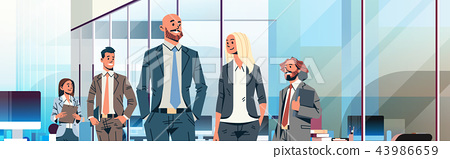 business people team leader leadership concept businessmen women modern office interior male female 43986659