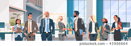 business people group hand shake agreement communicating concept modern coworking office interior 43986664