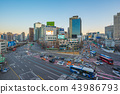 Traffic with cityscape skyline in Seoul, Korea 43986793