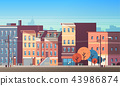 city building houses view skyline background real estate cute town concept horizontal flat 43986874