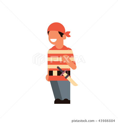 cute boy wear pirate scarecrow costume happy halloween concept party celebration isolated flat 43986884