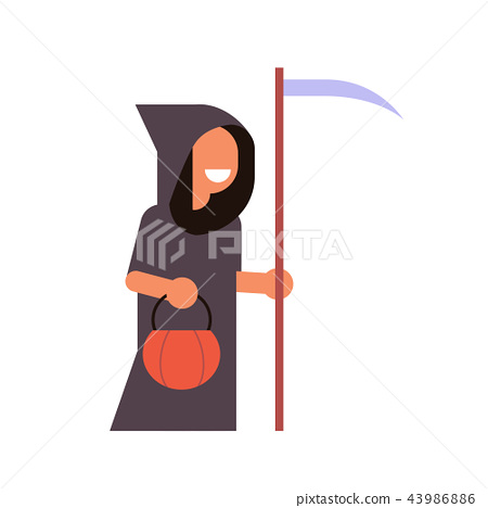 cute boy wear grim reaper scarecrow costume happy halloween concept party celebration isolated flat 43986886