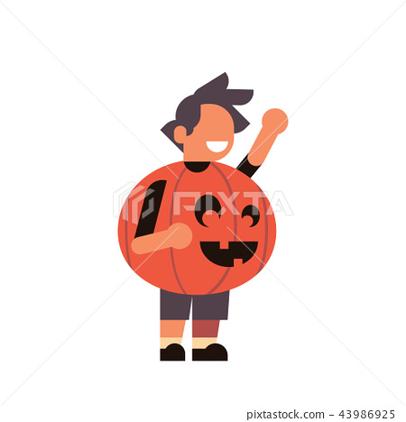 cute boy wear pumpkin scarecrow costume happy halloween concept party celebration isolated flat 43986925