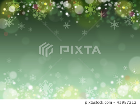 圣诞节冬天背景雪花绿色背景 43987212