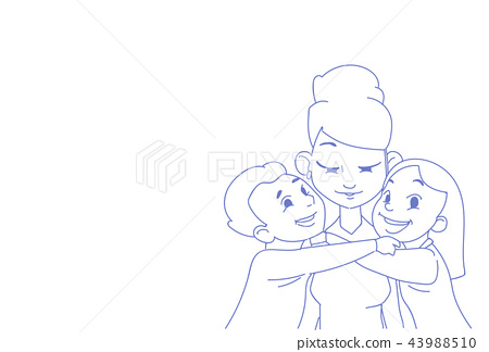 son daughter hugging their mom happy mother's day concept children embracing woman sketch doodle 43988510