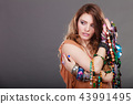 Pretty woman with jewelry necklaces ring bracelets 43991495