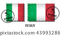 Italy or italian flag pattern postage stamp  43993286