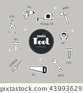 Vector set of Tools icons. Doodle. 43993629
