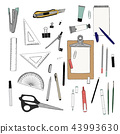 set of stationary , hand draw sketch vector 43993630