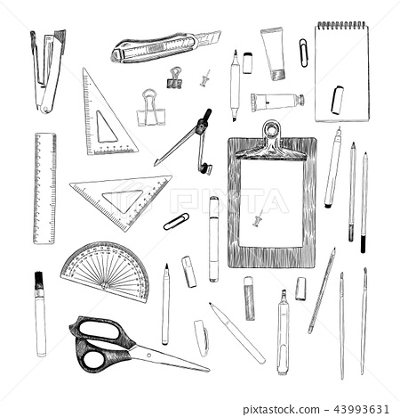 set of stationary , hand draw sketch vector 43993631