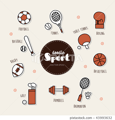 Vector set of sport icons. Doodle. 43993632