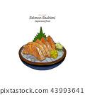 Salmon sashimi, traditional Japanese food style. 43993641