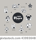Place hand drawn doodle icons set. 43993648