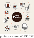 Music hand drawn doodle icons set. 43993652