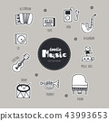 Music hand drawn doodle icons set. 43993653