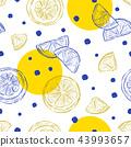 Fresh lemons background, seamless pattern. 43993657