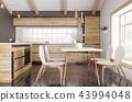 Modern wooden kitchen interior 3d rendering 43994048