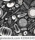 Happy Thanksgiving Day seamless pattern. Vector hand drawn illustrations on chalk board 43994340