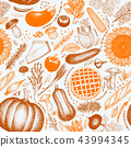 Happy Thanksgiving Day seamless pattern. Vector hand drawn illustrations. Thanksgiving backdrop in 43994345